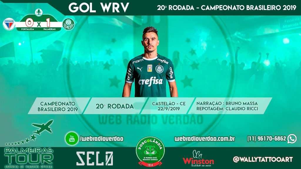 Gol de Willian - Fortaleza 0 x 1 Palmeiras - Castelão - CE - Brasileiro 2019 - 20ª rodada