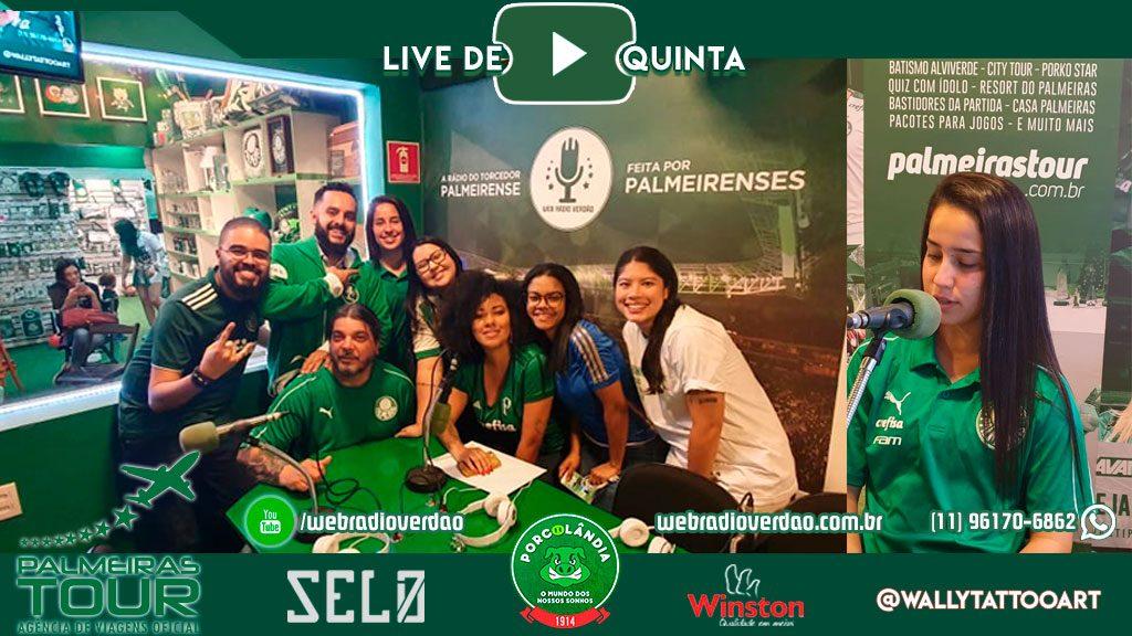 Live de Quinta especial mulheres Presença das Italian Minas e a jogadora Karla Alves do Verdão