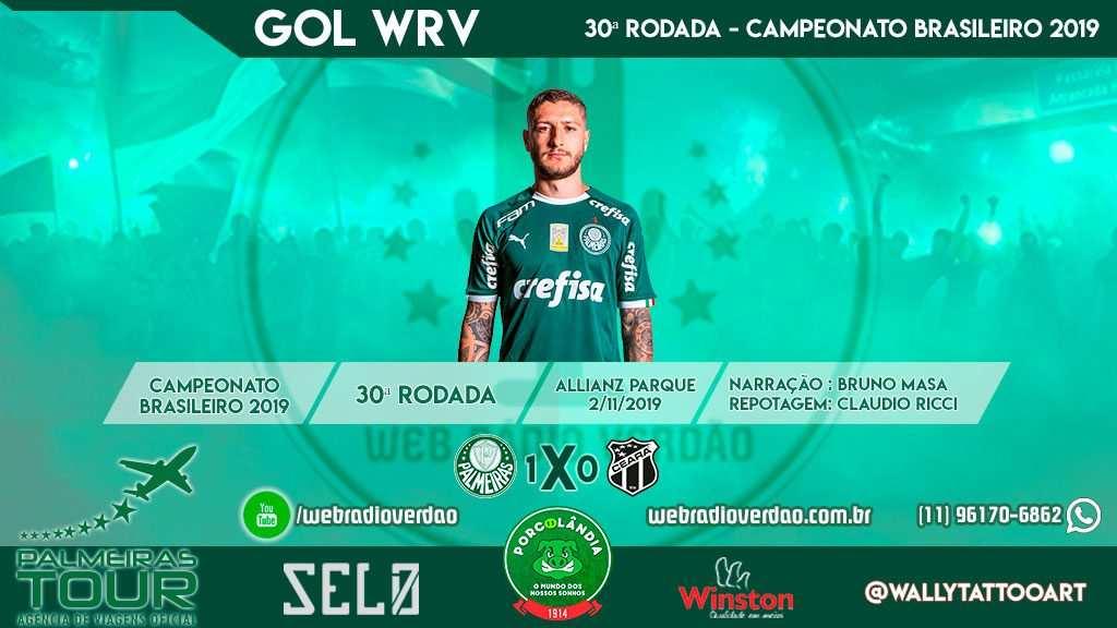 Gol de Zé Rafael, Palmeiras 1 x 0 Ceará - Allianz Parque - Brasileiro 2019 - 30 rodada