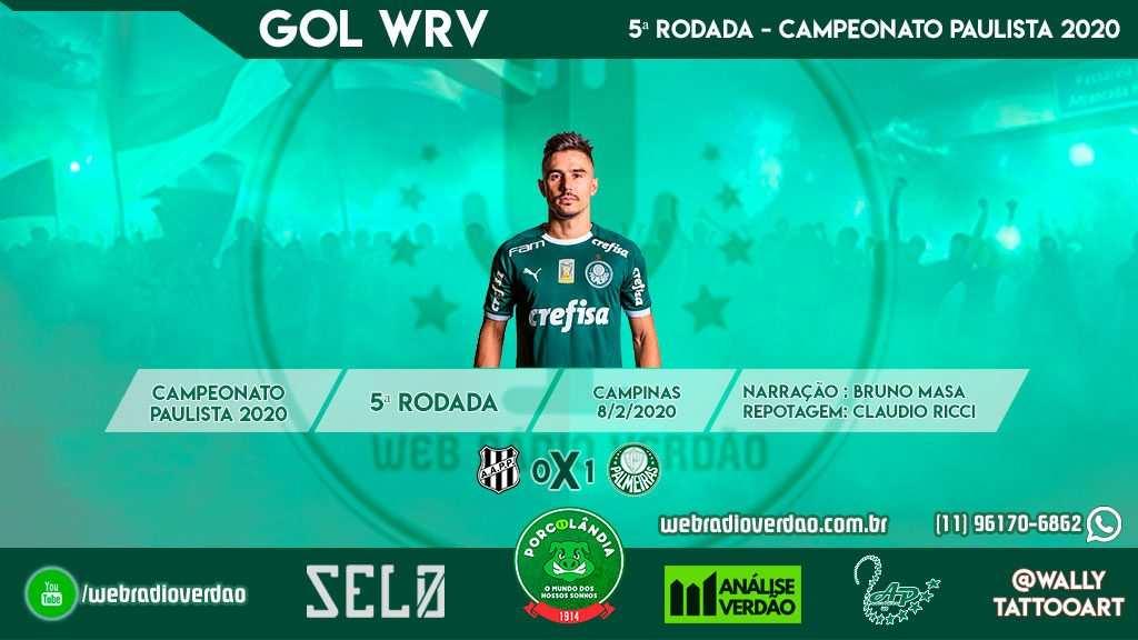 Gol de Bigode - Ponte Preta 0x1 Palmeiras - Campeonato Paulista 2020 - 5ª rodada
