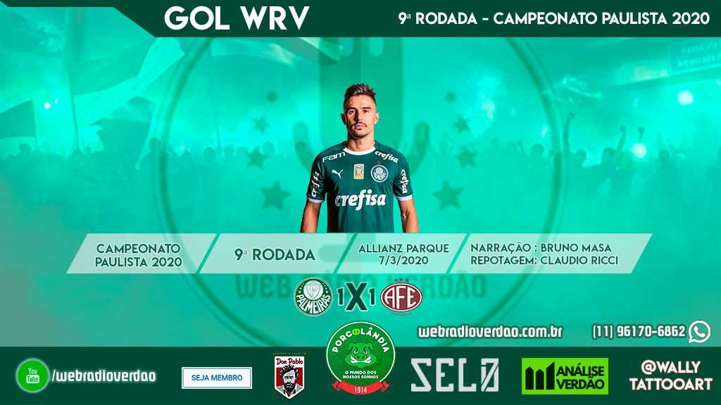 Gol Palmeiras 1x0 Ferroviaria - Campeonato Paulista 2020 - 9 rodada - Allianz Parque