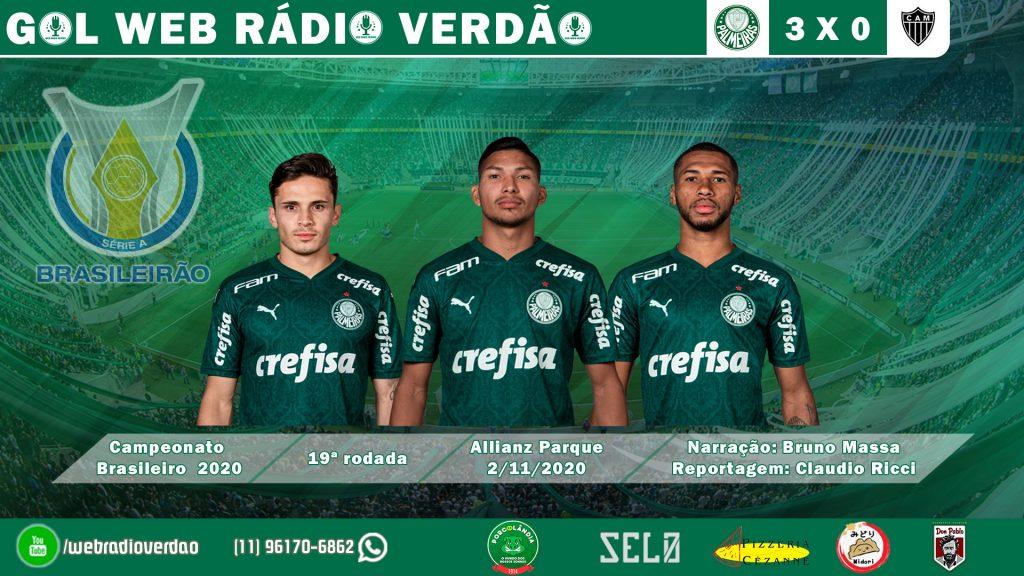 Gols de Raphael Veiga, Rony e Wesley - Palmeiras 3x0 Atlético MG